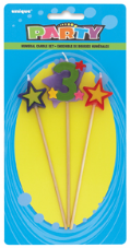 Number Three 3 Number Stars Birthday Cake Candles
